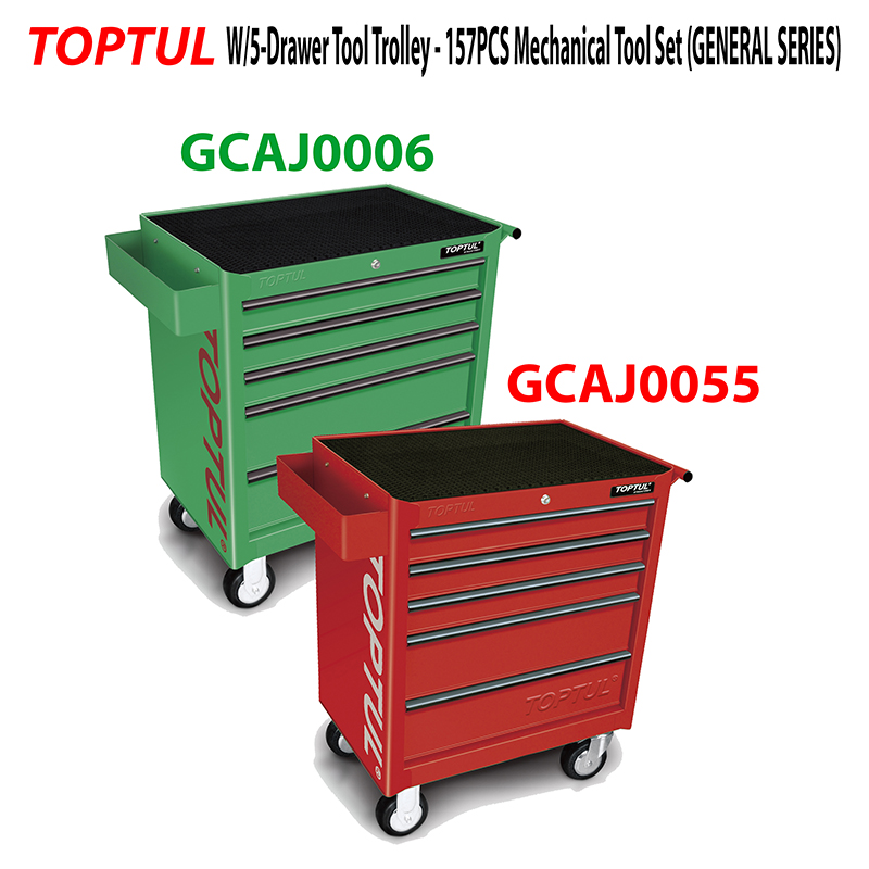 toptul u2013 157pcs mechanical tool setgeneral series w5drawer tool trolley